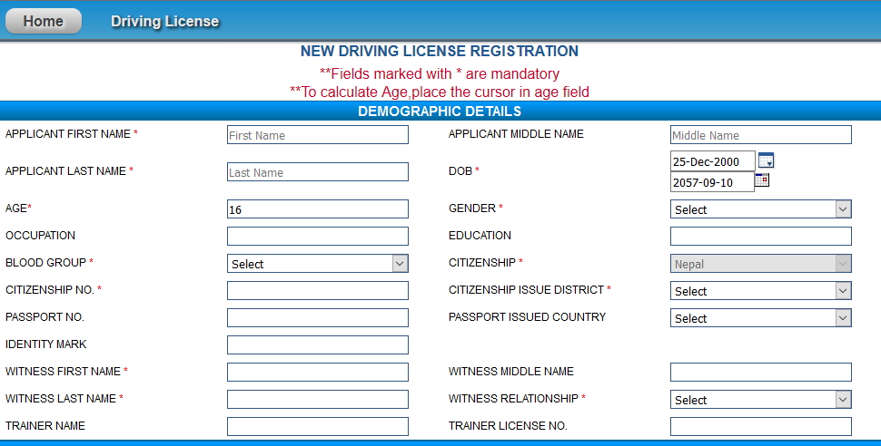How to fill up driving license online in Nepal (Instruction)